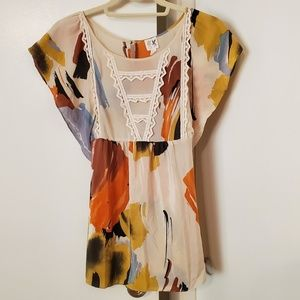 Anthropologie Edme & Esyllte Silk Tunic Top